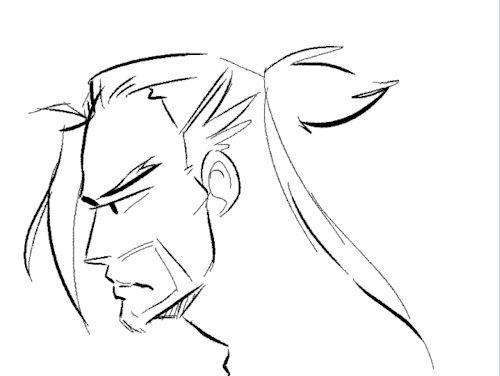 something possessed me (badum tshh demon jokes) to do a really rough oni hanzo