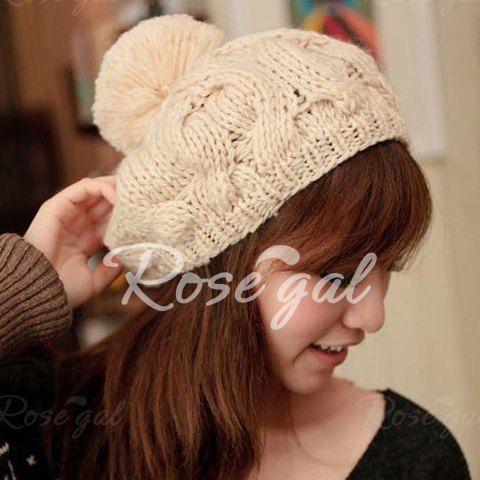 Hot Sale Knitted Hemp Flowers Design Fuzzy Ball Winter Hat For Women