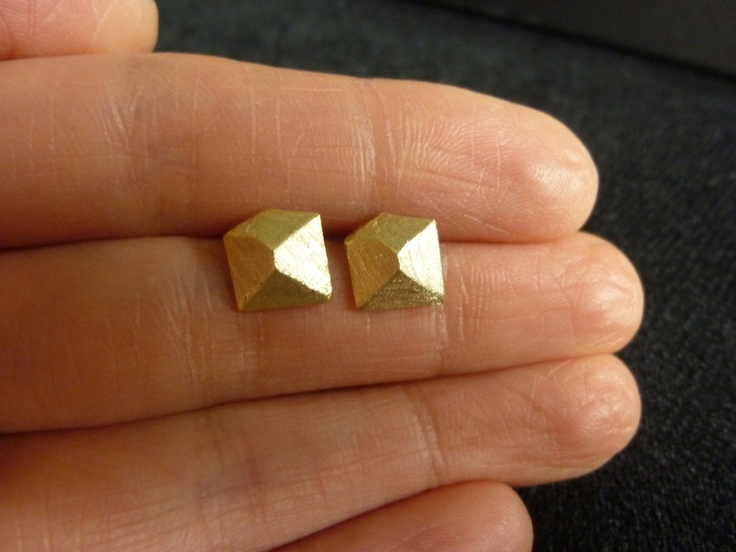 gold stud earrings pyramid like cubegold cube stud by MomentusNY, $22.00