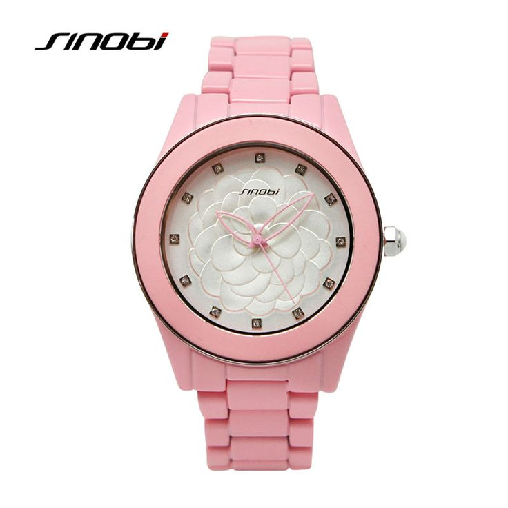 nice SINOBI Fashion Watches Womens Wrist Watch Diamond Nail Flower Female Pink Ceramic Quartz-watch Waterproof Lady Relojes 2017 F95