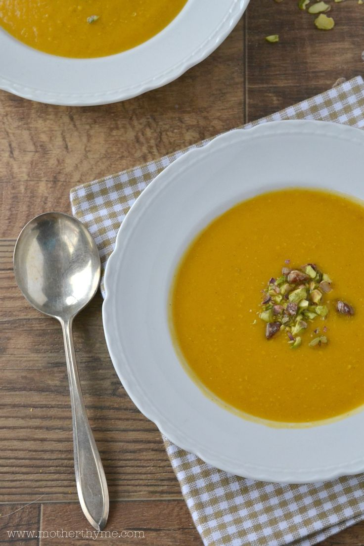 Roasted Butternut Squash Soup -bake butternut squash 30-40 min. remove ...