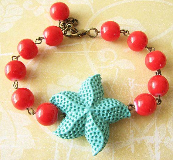Starfish Bracelet Starfish Jewelry Coral and by zafirenia on Etsy, $29.00