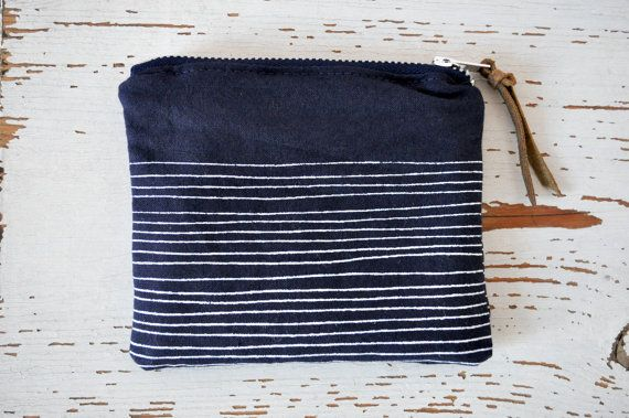 Small Cotton Zipper Pouch - Navy Blue and White Stripes - Handprinted. $17.50, via Etsy.