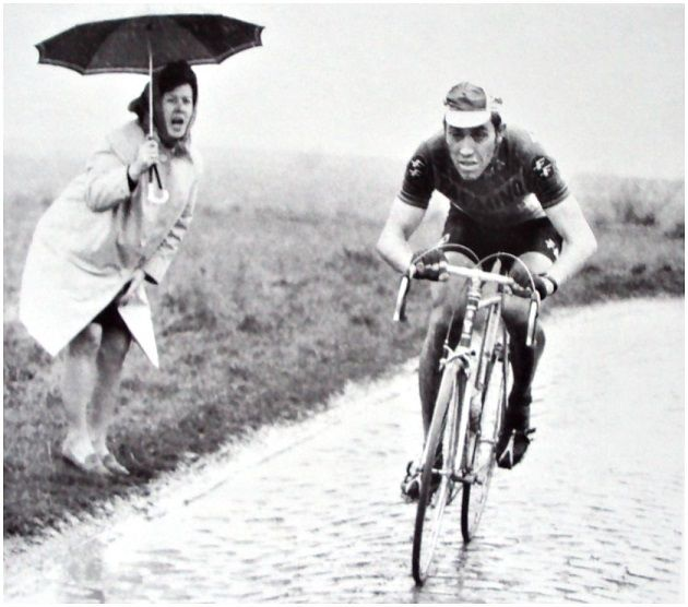 Eddy Merckx, Paris Roubaix 12/4/1970.  After two punctures, Eddy arrived at the velodrome with a 5 min. 21 sec. lead on Roger De Vlaeminck, the biggest difference ever made on the cobbles