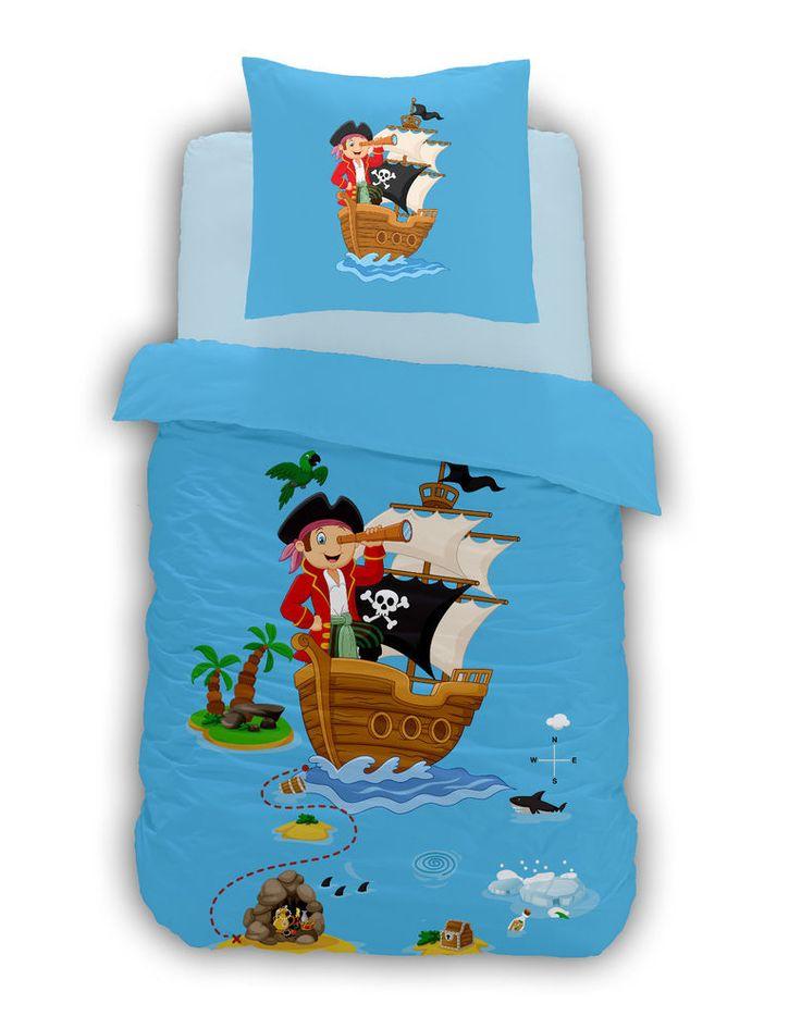 Bettwäsche 100x135 Baumwolle Kinder Pirat Seeräuber Piratenschiff Jungen blau