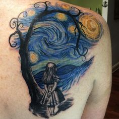 Mashup of Van Gogh, John Tenniel's Alice  and a Tim burton inspired tree done with @fusion_ink