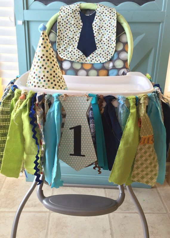 Little Man Birthday First birthday banners and High Chair banner. Features neckties and mustaches for boys birthday party photos. Handmade blue,