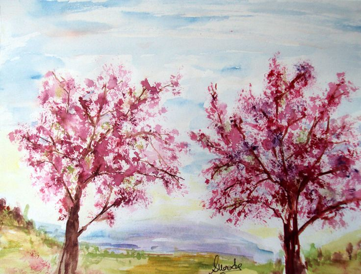 landscape # watercolour # singhrohaart watercolor landscape painting ... Japanese Cherry Blossom Landscape Painting
