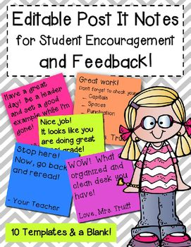 Using post-it notes in the classroom! --> Leave positive feedback on student work with these 100% editable post-it notes made by the Simplified Classroom on Teachers Pay Teachers