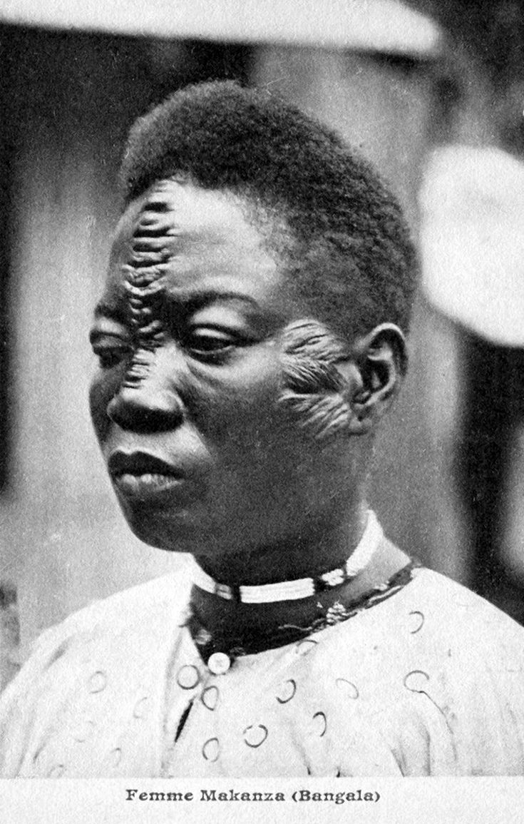 "Africa | ""Femme Makanza. (Bangala)"". Belgian Congo. | Vintage postcard.  ca. 1908"