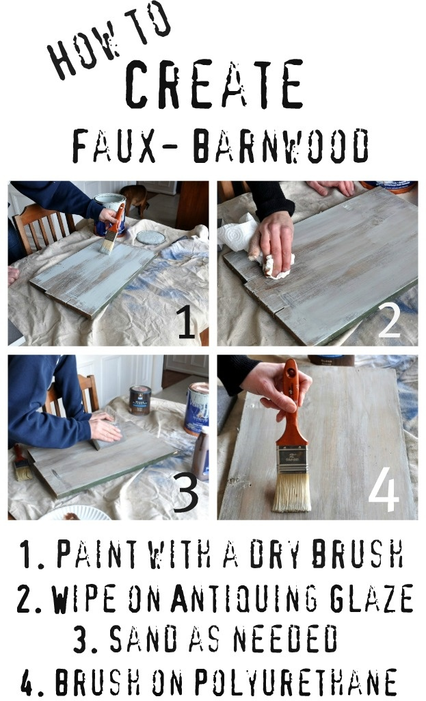how to recreate that beautiful aged barn wood look with paint, glaze and a sanding block. Here's what you'll need to do: