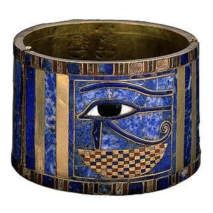 It is impossible not to admire the beauty of Egyptian jewelry. This bracelet is noted for its beautiful colors and protective eye of Horus.