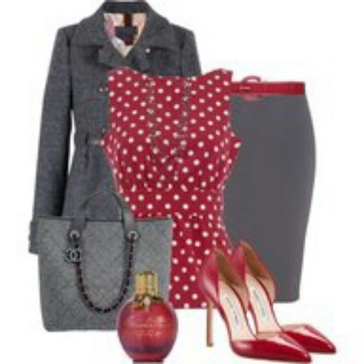 Red polka dot blouse, gray skirt and long coat, red heels. Work outfit.