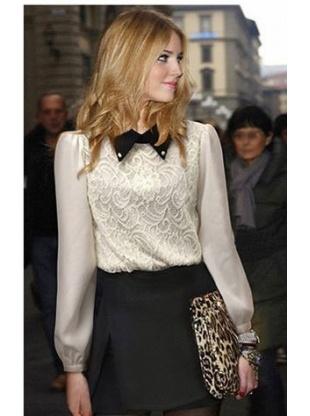 white long sleeve fashion lapel  lace T-shirt