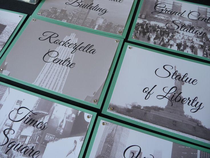 New York Theme Wedding Table Names