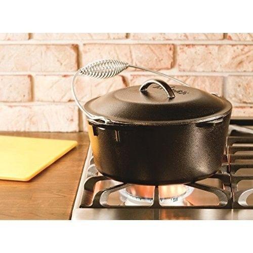 Cast Iron Dutch Oven Non Stick Kitchen Cookware Induction Cooking Pot Black 5 Qt #CastIronDutchOven