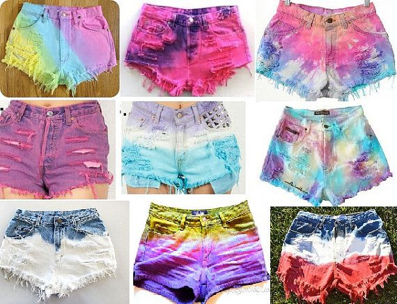 Customized High Waisted Jean Shorts:  Just Died NO STUDS Galaxy Tie Dye Rainbow Dip Dye Bleached Ombre Studded Denim Jean Shorts