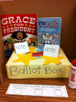 Election Day Ballot Box.  Make a ballot with three answers to a simple question.  Kids can place their ballot in the box.