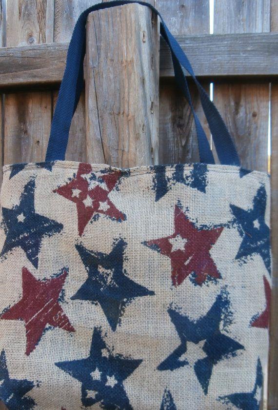 Handmade Burlap Tote USA Stars Burlap Tote by CrossMyHeartBags