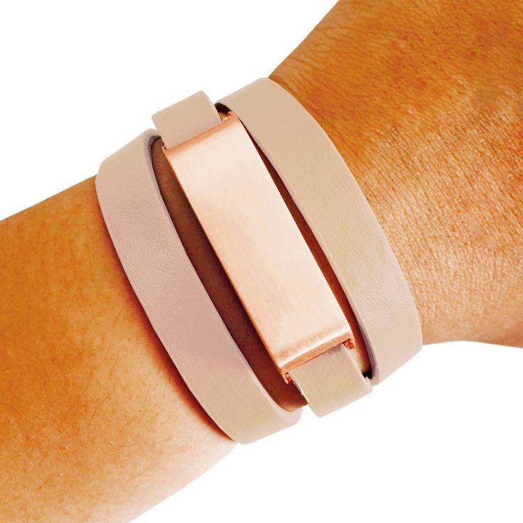 Fitbit Bracelet for FitBit Flex - The KATE Brushed Rose Gold and Beige Genuine Leather Buckle Fitbit Bracelet by Funktional Wearables