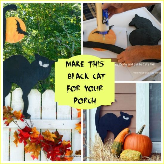 DIY Outdoor Decoration for Holidays | Make an easy black cat cut-out for a fun Halloween decoration.