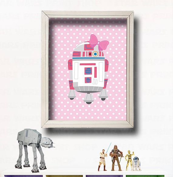 Star Wars Kids Wall Art -R2-D2- Star Wars Characters - Star Wars Girl Room - Star Wars Nursery - Make your own set - Jedi Baby - Prints on Etsy, $11.00