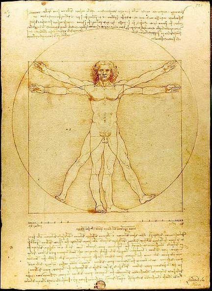 Vetruvian Man | by Leonardo da Vinci c. 1487 | One of da Vinci's many talents was sketching extremely accurate and revolutionary things, this is just one example. Da Vinci's attitude about his gifts was something (among others) that made him hated by many, he went around taking advantage of the appreciation of art by taking money from patrons to create half-completed works.