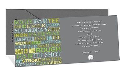 typography based golf invite