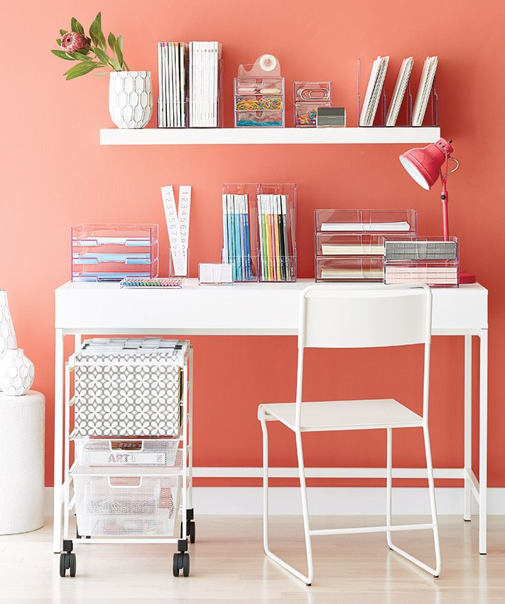 Our Clear Acrylic Desktop Collection And Elfa File Cart Make For The  Perfect Minimalist Desk Experience