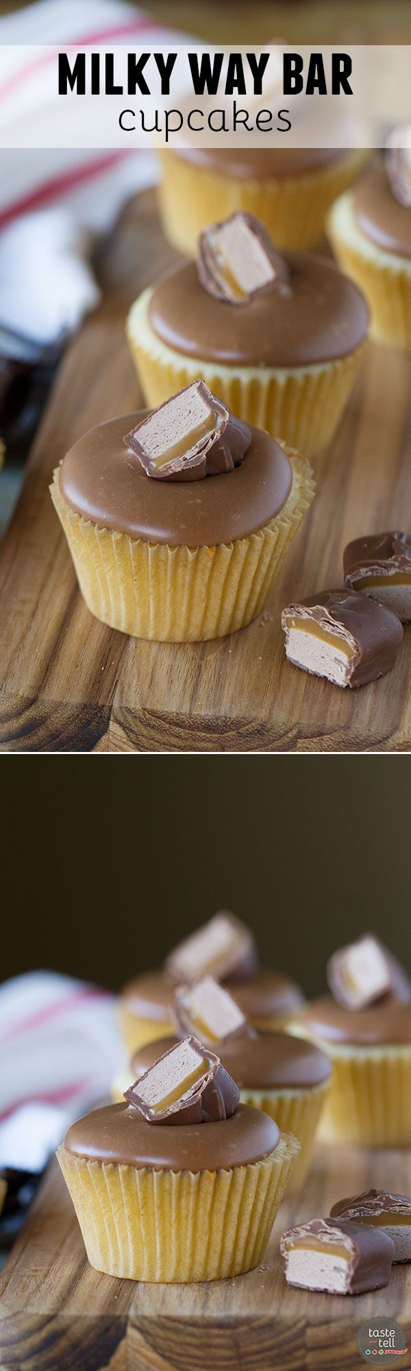 A frosting made from candy bars! These simple yellow cupcakes are topped with a sweet and smooth Milky Way Bar frosting. Candy bar lovers will love these Milky Way Bar Cupcakes!