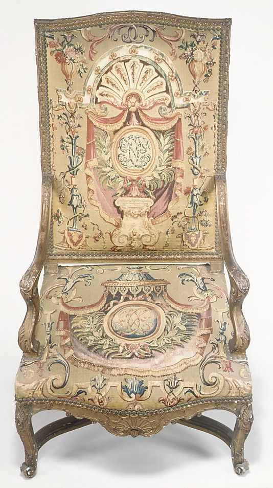 Jean Berain (French, 1640–1711). Set of three armchairs, 1715–20. The Metropolitan Museum of Art, New York. Bequest of Benjamin Altman, 1913 (14.40.779–.781) #tapestrytuesday