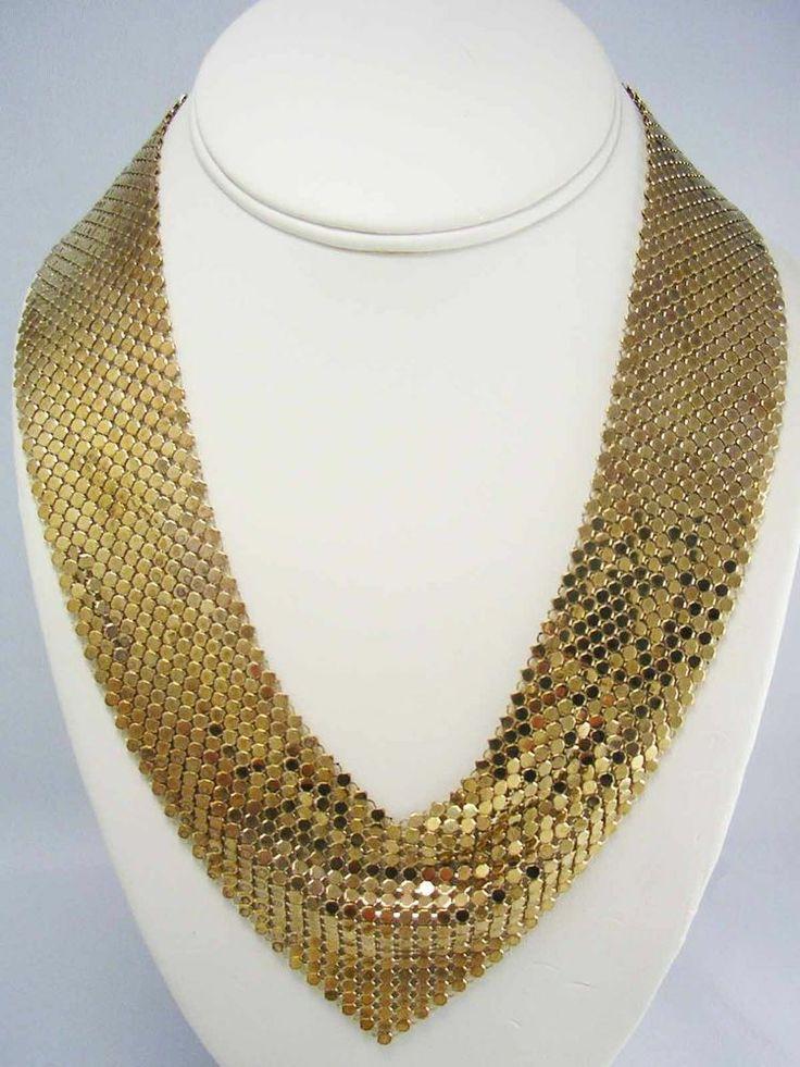 Vintage Golden Shimmery Mesh Link Collar Bib Necklace 1970's Whiting  Davis  #WhitingDavis