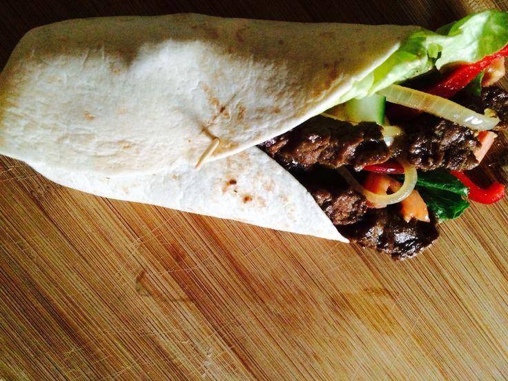 Delicious beef wrap.