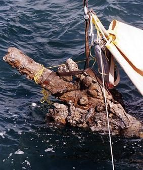 Cannon raised from wreck of Queen Anne's Revenge, flagship of Blackbeard the pirate