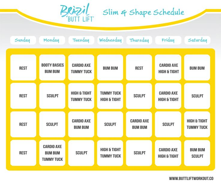 Slim and Shape Schedule