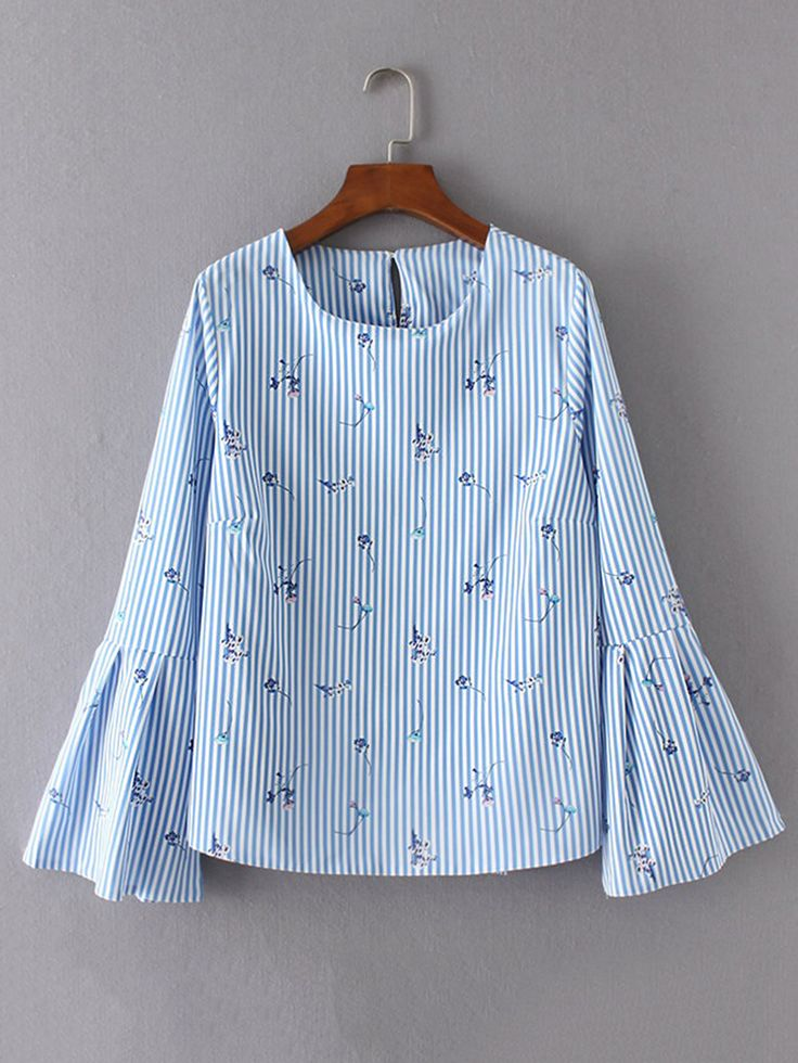Buy Bell Sleeve Vertical Striped Keyhole Back Blouse from abaday.com, FREE shipping Worldwide - Fashion Clothing, Latest Street Fashion At Abaday.com