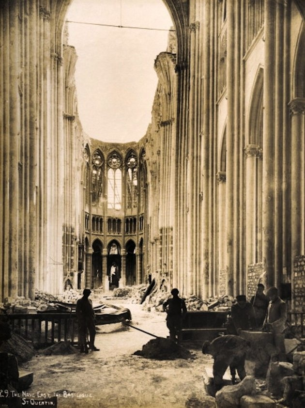 The East end of the Nave in the Basilique at Saint-Quentin in Northern France, photographed soon after the end of World War One, circa March 1919. This image is from a series documenting the damage and devastation that was caused to towns and villages along the Western Front in France and Belgium during the First World War.