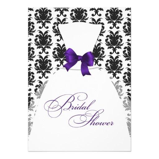 Damask Bridal Shower Wedding Dress Purple Eggplant Invitations