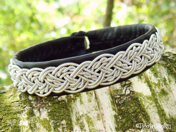 Sami Bracelet - Swedish Lapland Jewelry Handmade Bracelet in Black Reindeer Leather with Braided Pewter and Antler button.