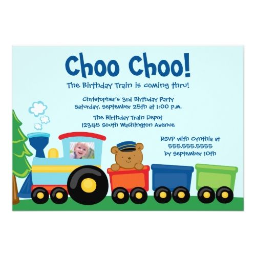 120 best Train Birthday Party Invitations images – Train Birthday Cards