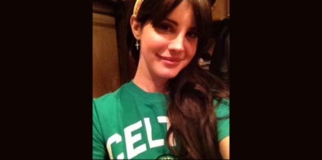 Lana del Rey wearing a Celtic top, Hail Hail