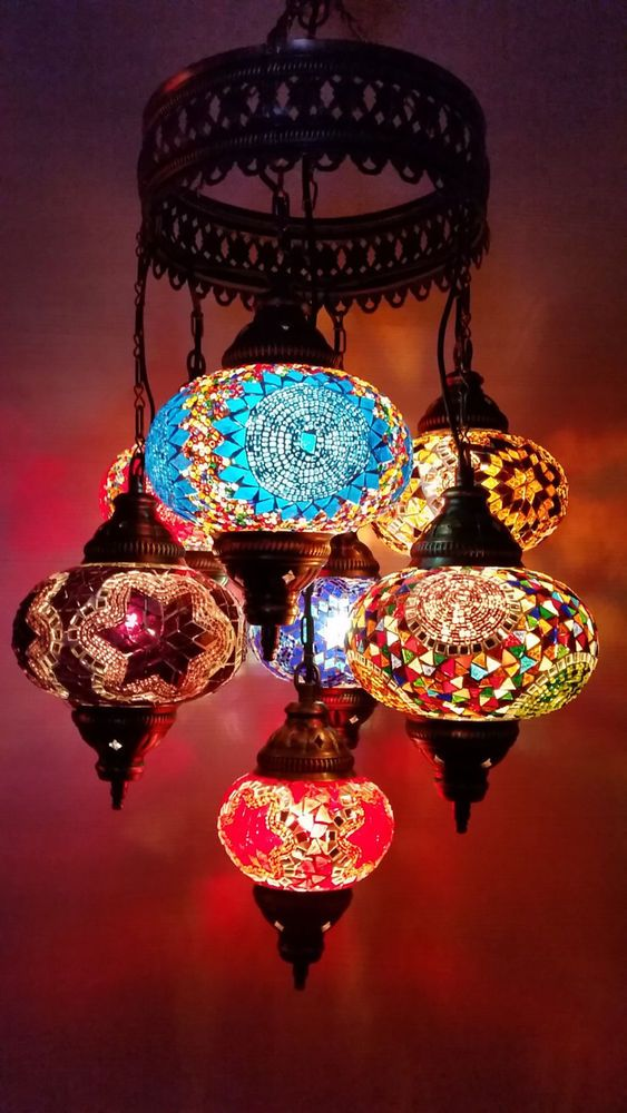 TURKISH HANDMADE 7 MULTICOLOUR MİX BALLS MOROCCAN MOSAIC LAMP LANTERN LIGHT 7S32