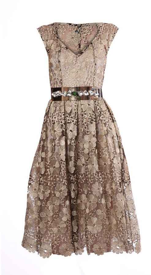 Elena Perseil Black and gold lace dress