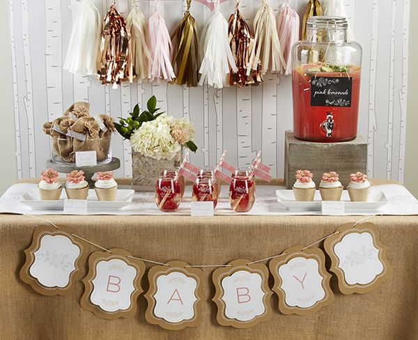 We Love All Of The Pink And Gold Details Of This Totally Adorable Rustic Baby Shower! Burlap, Birch And Chalkboards Have Never Looked Better!