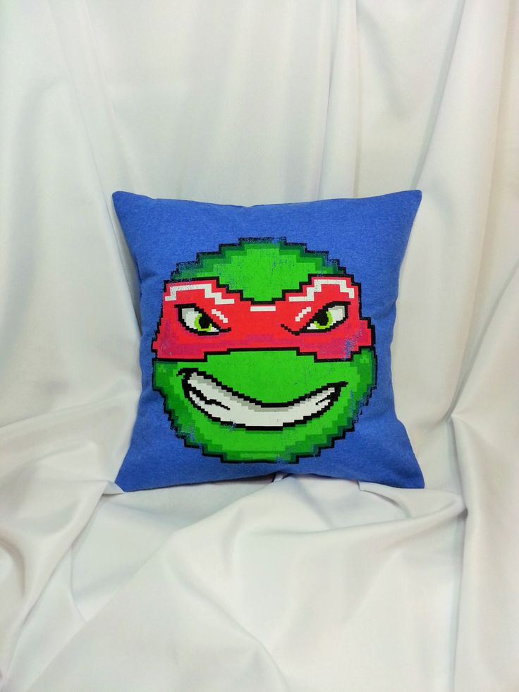 Ninja Turtle Decorative Pillow : Raphael TMNT blue T-shirt made into a decorative pillow cover. Superhero bedding made from ...