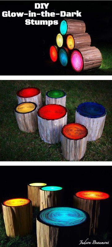 Step 1) Paint different colored GLOW IN THE DARK paints. Step 2) Wipe off shortly after. Step 3) Let dry! The paint will dry inside the rings of the stump.