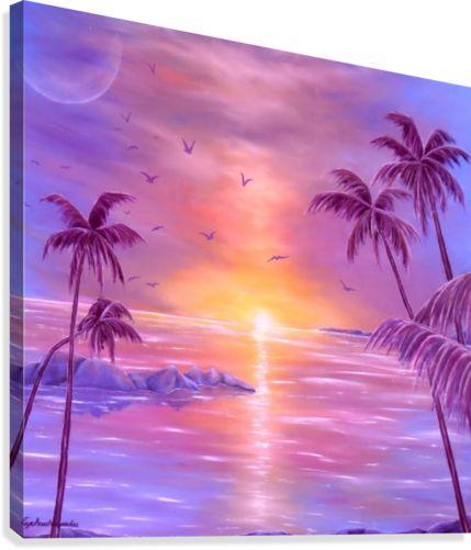 Canvas Print,  sunset,coastal,scene,tropical,sunrise,seascape,ocean,water,island,palmtrees,impressive,bright,calm,summer,fantasy,purple,violet,mauve,lavender,gold,golden,multicolor,colorful,beautiful,image,fine,oil,painting,contemporary,scenic,modern,virtual,deviant,wall,art,awesome,cool,artistic,artwork,for,sale,home,office,decor,decoration,decorative,items,ideas,pictorem