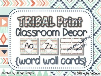 Help your students learn important sight words and vocabulary with this TRIBAL PRINT word wall decor set. Includes two sizes of alphabet letters. Blank printable word cards make it easy to customize to fit your own needs. Includes EDITABLE version of word wall cards to type in your own words with your choice of font and color.