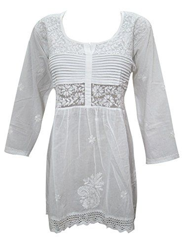 Mogul Indian Tunic Blouse White Cotton Embroidered Short Kurti for Womens (Small) Mogul Interior http://www.amazon.com/dp/B013QNHQ0O/ref=cm_sw_r_pi_dp_DPMYvb0MKCT0E