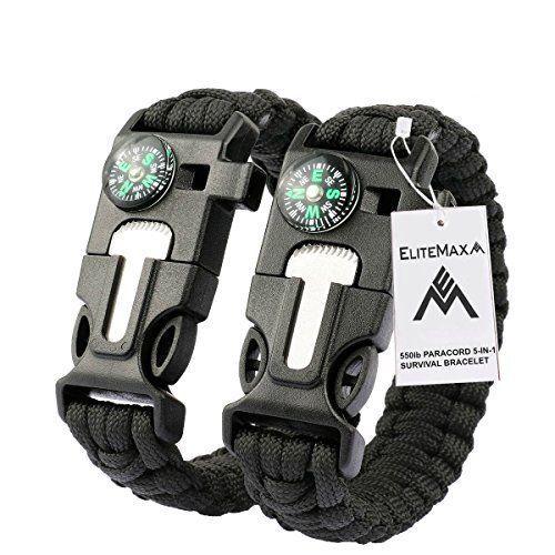 Survival Paracord Bracelet Kit Whistle Flint Fire Starter Gear Compass Camping  #EliteMax